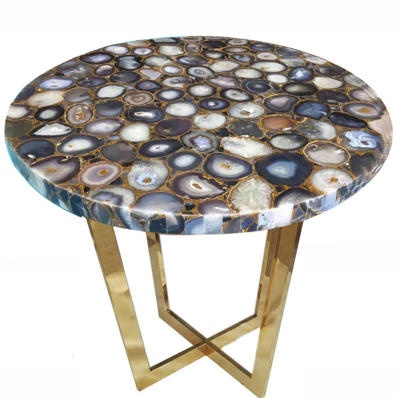 Ryan Marble Stainless Steel Square Coffee Table 60cm: Agate Onyx Table Top - Marble Table