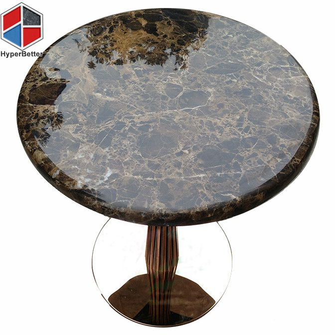 Marble Coffee Table With Metal Legs: Modern Coffee Table Emperador Marble Top And Metal Leg