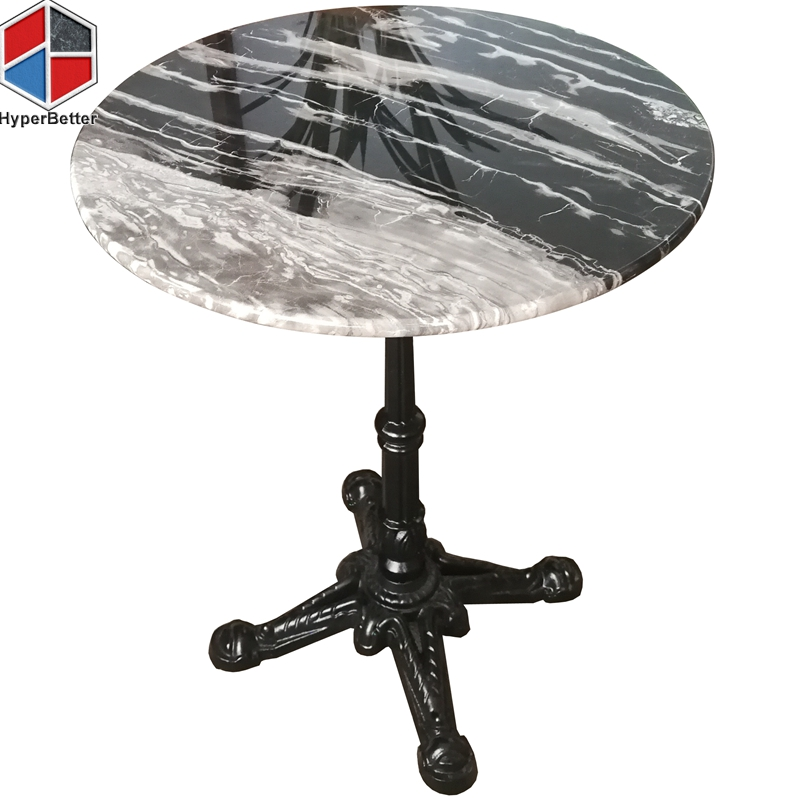 60cm round black and white marble living room table