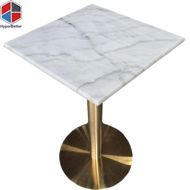 Square white marble top dining room table
