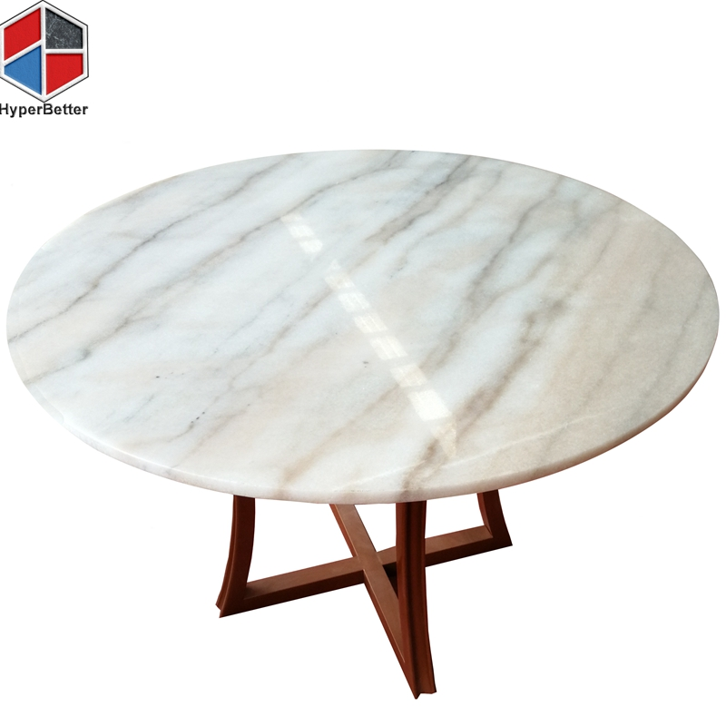 120cm round white marble top wood coffee table
