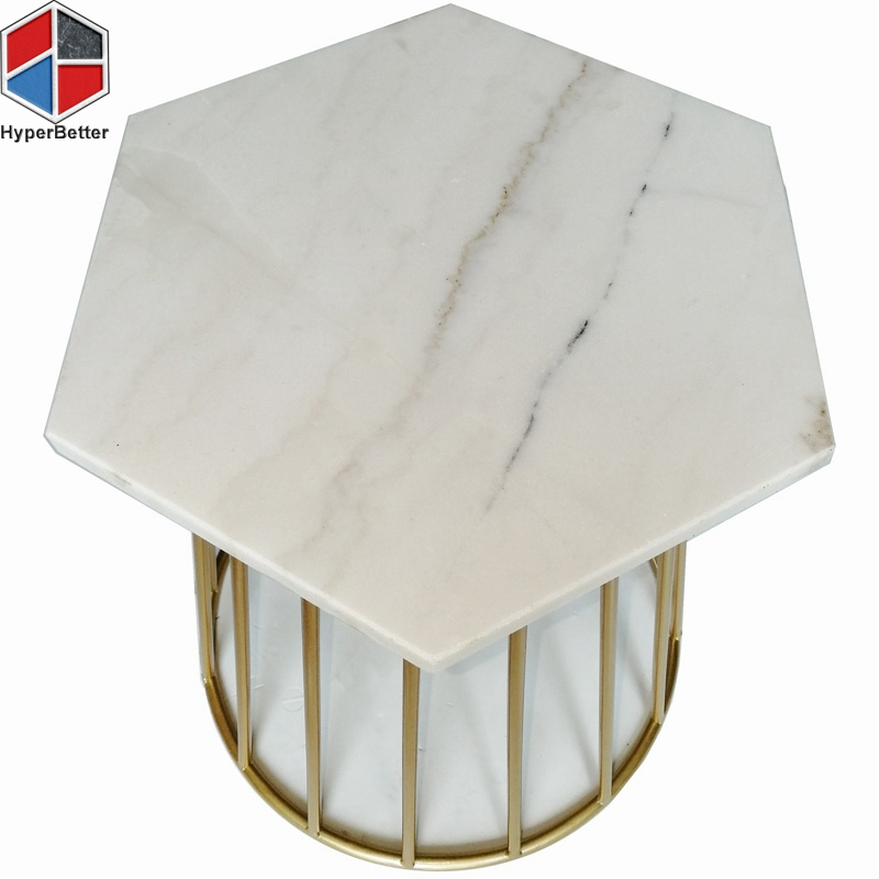 40cm hexagonal marble coffee table end table
