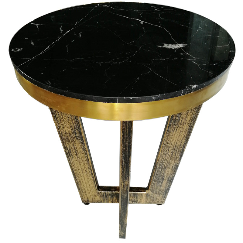 Golden frame round small marble dining table
