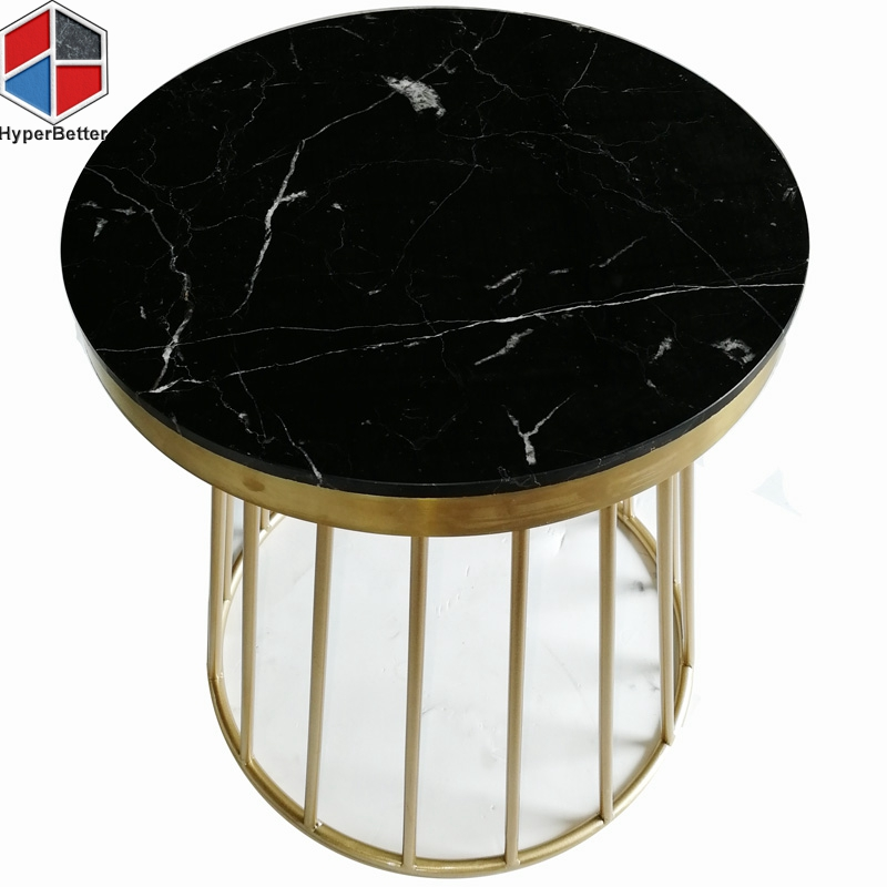 16inch round black marble bedside table