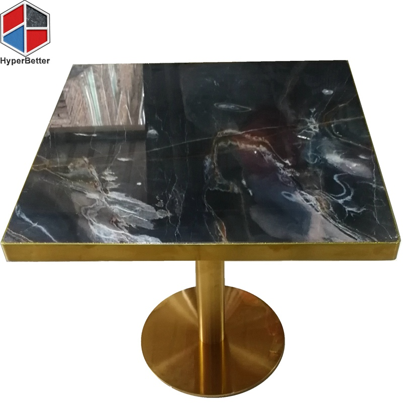 Gold metal bracket square marble top center table