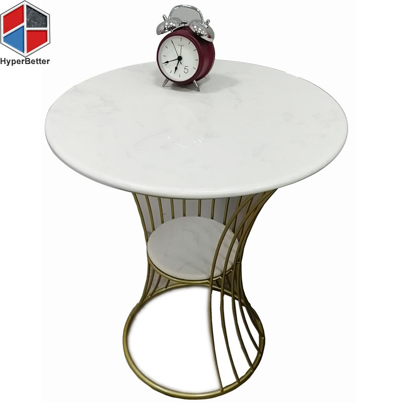 2 layer round white marble side table
