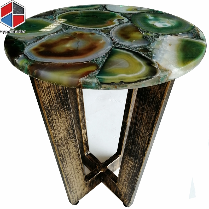 16inch Multigreen agate bed side table antique metal base