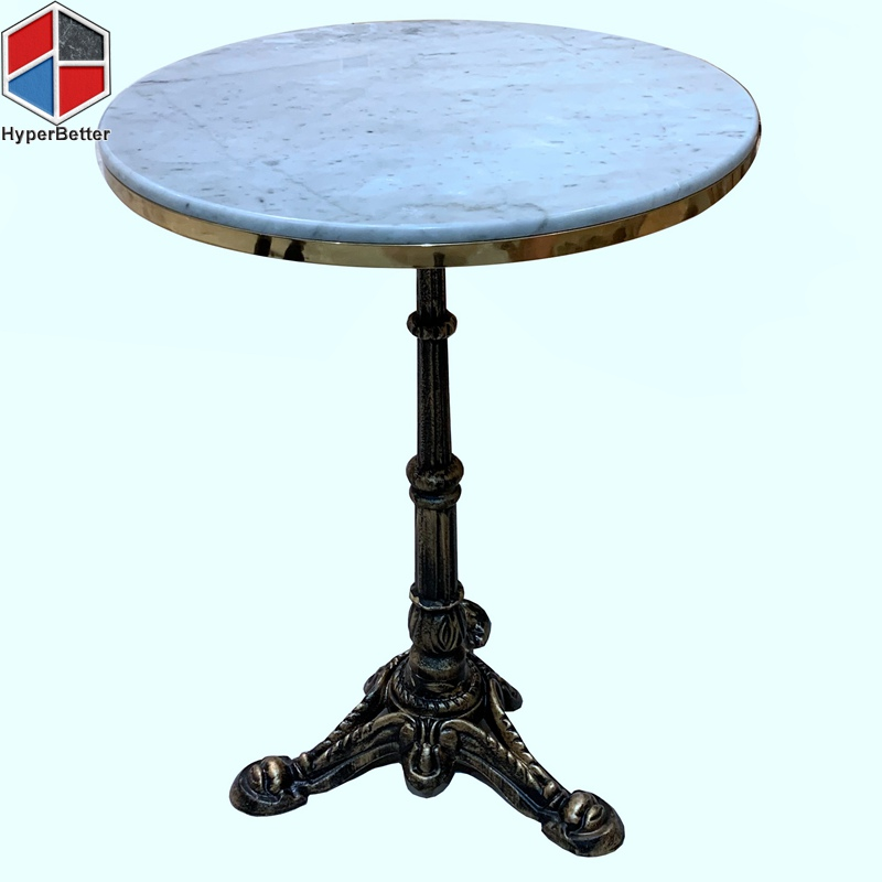55cm metal trim round marble table tops