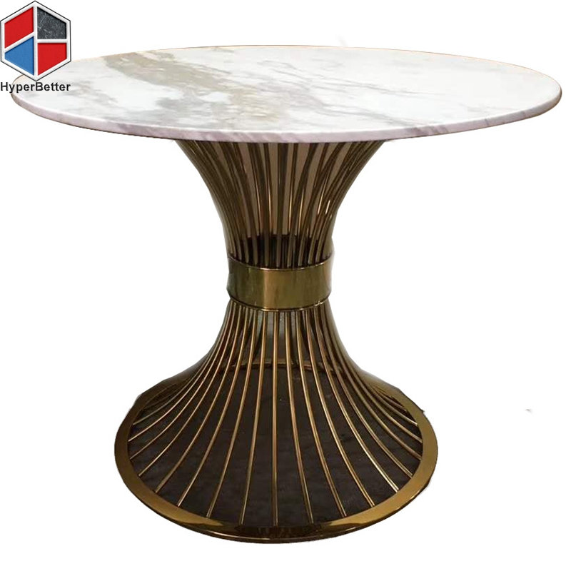 80cm white marble dinning table nesting metal base.