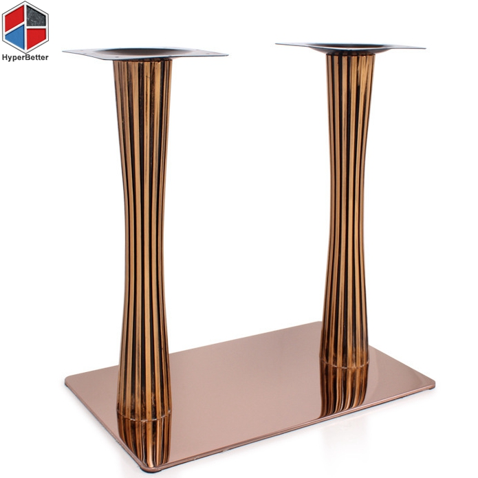 Rectangular dining table stainless steel metal base
