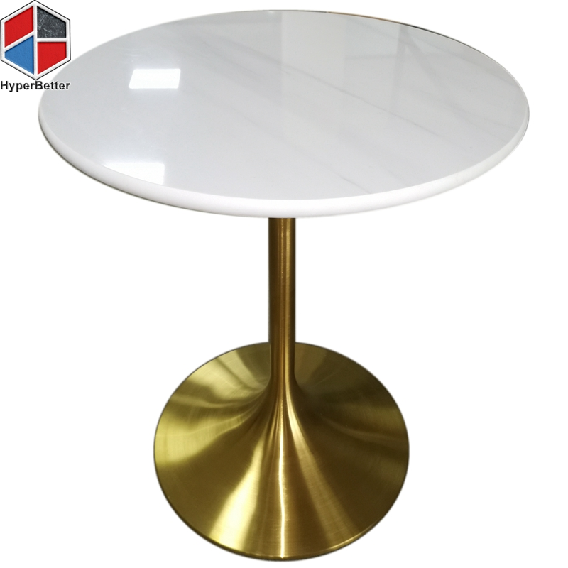 60cm 2 person white fake marble table top metal base