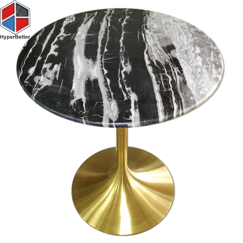 fashionable marble coffee table tulip base