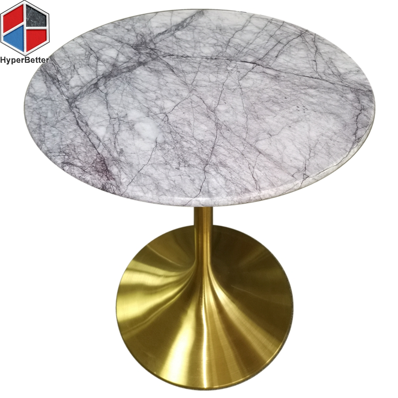 Lilac marble dinner table top metal tulip base